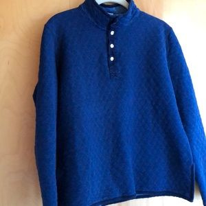 Marine Layer blue quilted quarter-snap pullover M
